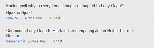 Komentarze pod utworem Bjork na YT